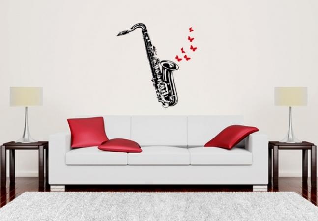 Saxophon Schmetterlinge Wandaufkleber