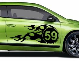 Racing Nummer Flamme Autoaufkleber
